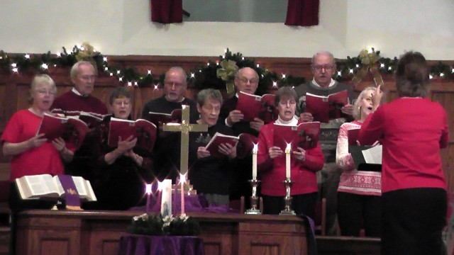 "The choir performs ""Christmas Seekers"" during the Dec. 15, worship service."