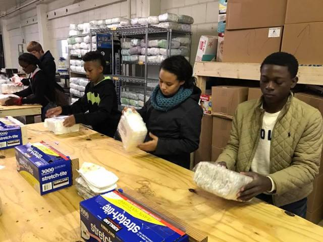Five 1820 youth members along with adults Anna Bembower and Wyndy McRoy volunteered to help at the St. Louis Diaper Pantry on Sunday, Dec. 4.